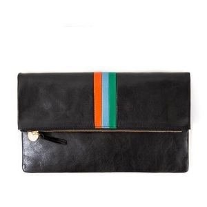 Clare V black leather clutch stripe NWT $245
